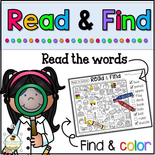 Read and Find hidden picture back to school activity. #hiddenpicture #backtoschool
