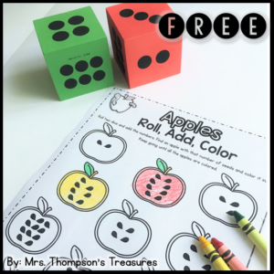 Free apple number activity. #dice #apples #kindergarten #math