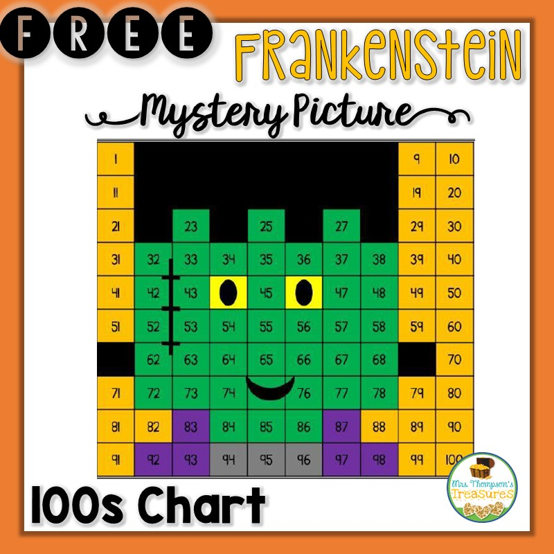 math, Halloween, Frankenstein, hundreds chart