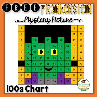 Free Frankenstein Hundreds Chart Mystery Picture