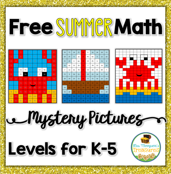 Free summer math mystery pictures.