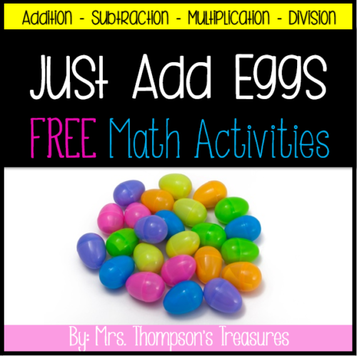 Free math activity for Easter with plastic eggs