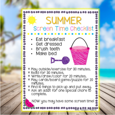 Free Summer Screen Time Checklist Printable