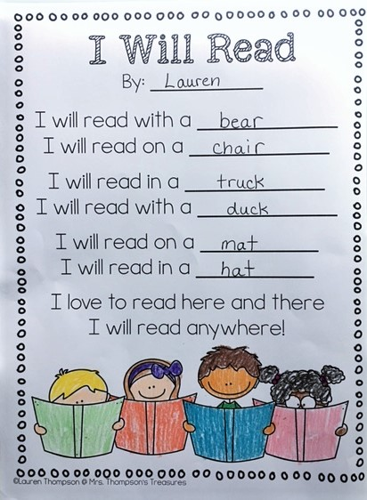 valentine's day preschool quotes - I Will Read Free Poem Template Mrs Thompson s Treasures