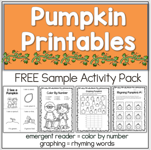 Free pumpkin printables for fall. #reading #math #pumpkin