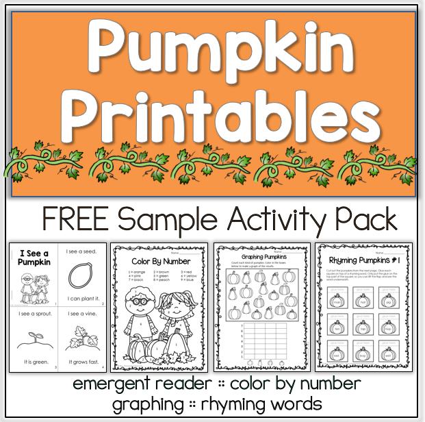 Free pumpkin printables for fall. #reading #math #pumpkin