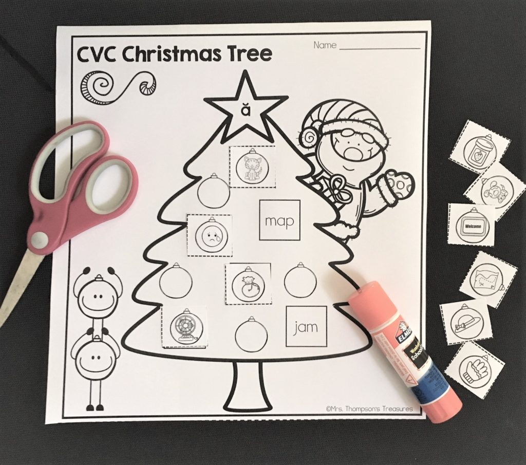 Which was exactly this case when I made these Christmas Tree Cut & Paste pages for my kindergartner to practice her cvc words! She was so excited because ...