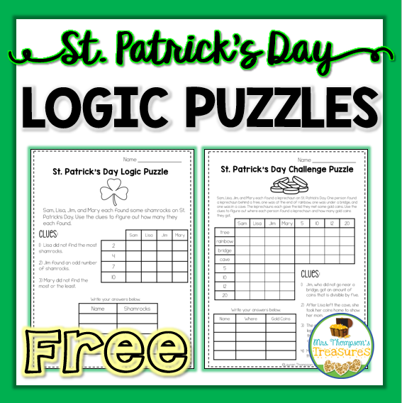 Free St  Patrick's Day Logic Puzzles - Mrs  Thompson's Treasures