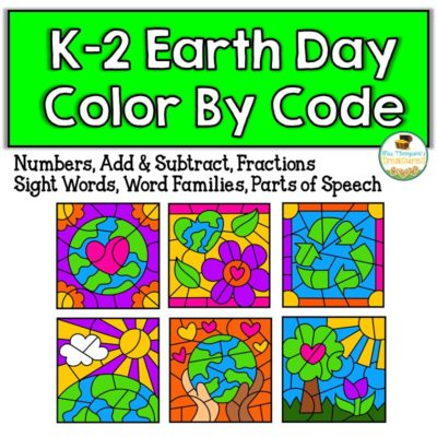 Fun color by code activities for Earth Day. #colorbycode #earthday