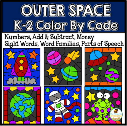Outer space color by code fun math and language arts printable activities