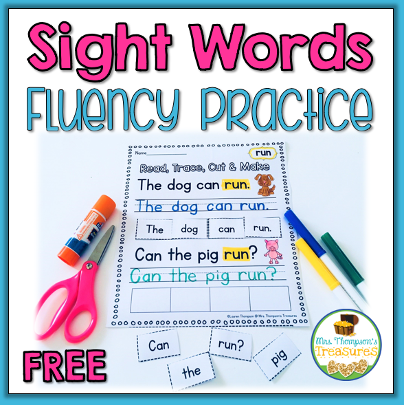 Fun cut and paste sight word fluency practice.