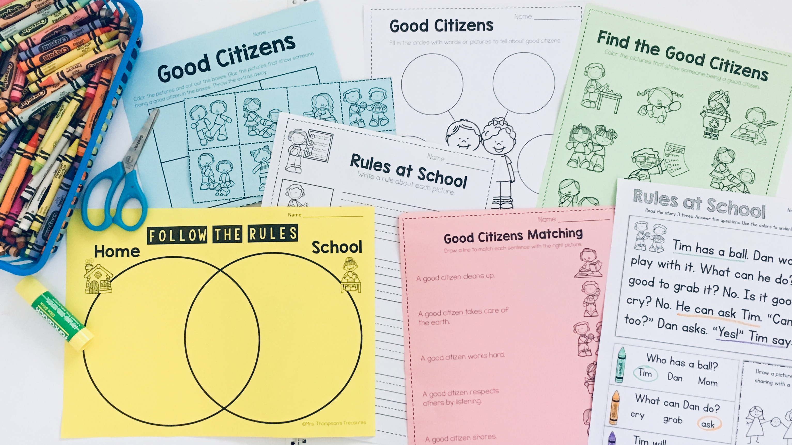 Engaging and easy to use social studies printables for K-1