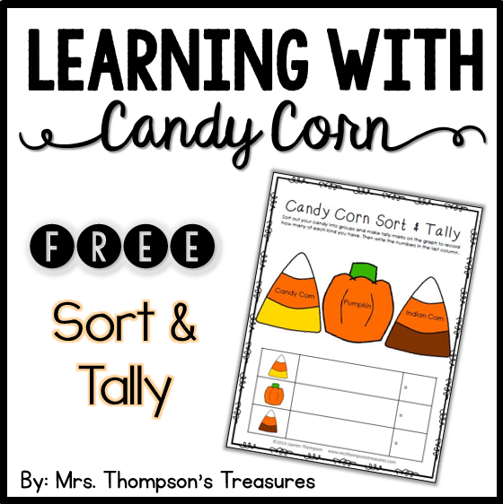 Free candy corn sort and tally printable. #fall #kindergarten #preschool #candycorn