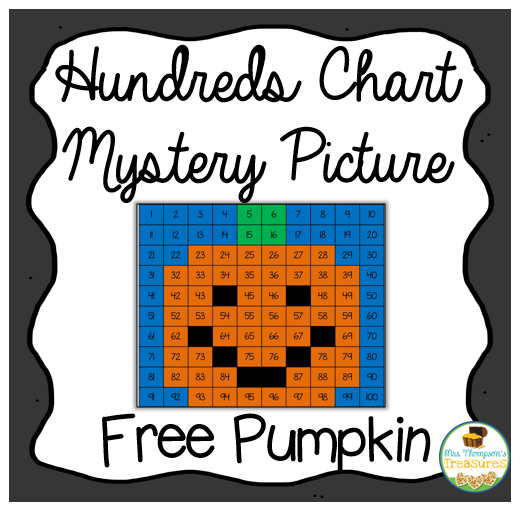 pumpkin hundreds chart mystery picture #pumpkin #math #numbers