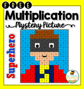 Free superhero multiplication mystery picture.