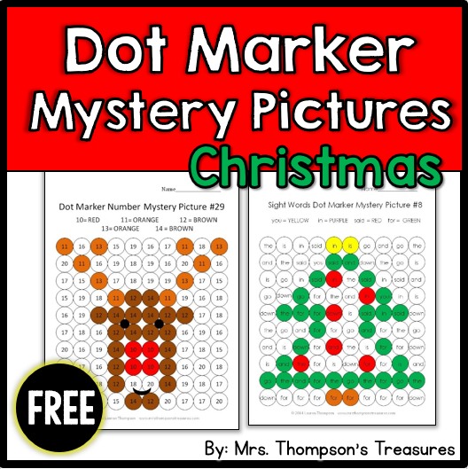 Free Christmas mystery pictures using letters, numbers, and sight words!