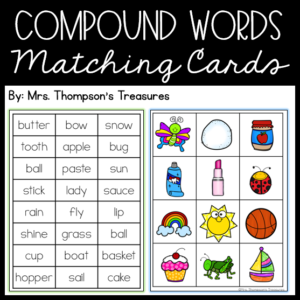 Fun compound word practice with word cards and matching pictures.