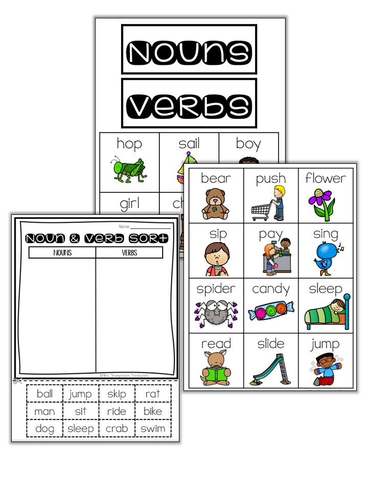 Nouns and verbs sorting activities.