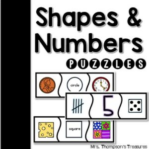 Shapes and numbers matching puzzles for preschool or kindergarten.