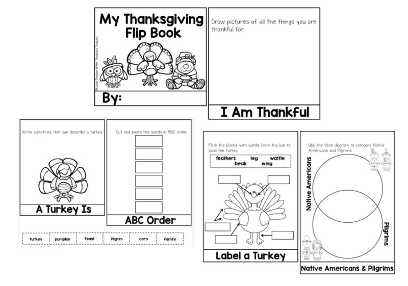 Thanksgiving writing flip book activity