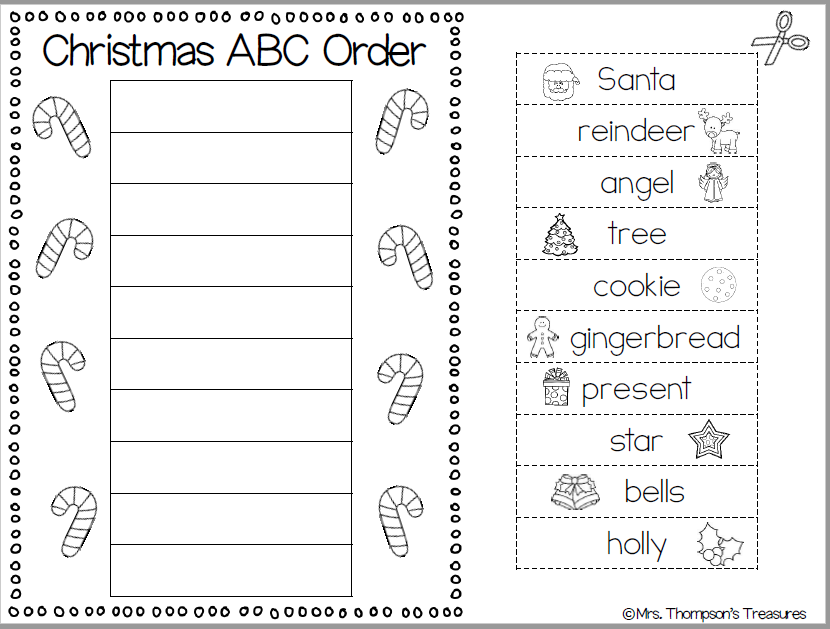 Christmas Words ABC Order - Mrs  Thompson's Treasures
