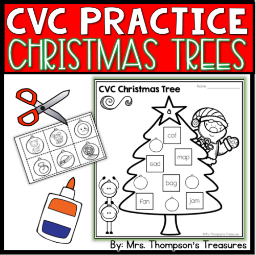 Free cvc practice for Christmas. Cut and paste the picture to match the cvc word.