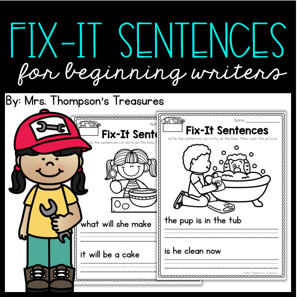 Edit and fix the mistakes with these simple sentences and cute pictures. Great for beginning writers to practice capitalization and punctuation.