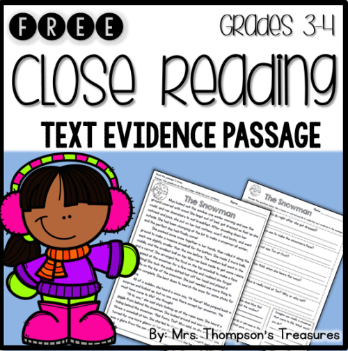 Free close reading text evidence passage for grades 3-4