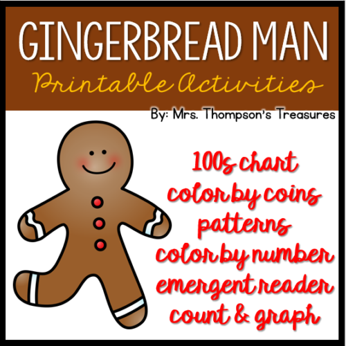 Free gingerbread man reading and math printables activities.