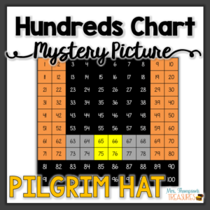 Thanksgiving math - Pilgrim hat hundreds chart mystery picture