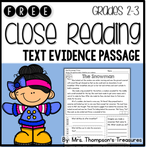 Free close reading passage to practice finding text evidence - winter reading comprehension