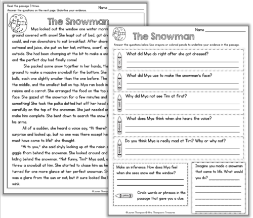 Free close reading passage for winter. Comprehension and text evidence questions.