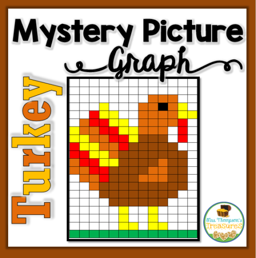 Thanksgiving math turkey graphing mystery picture
