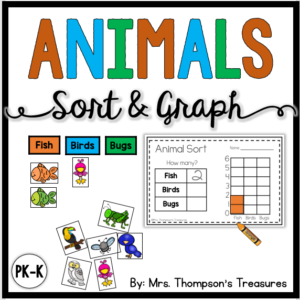 Animals sort and graph math and science activity