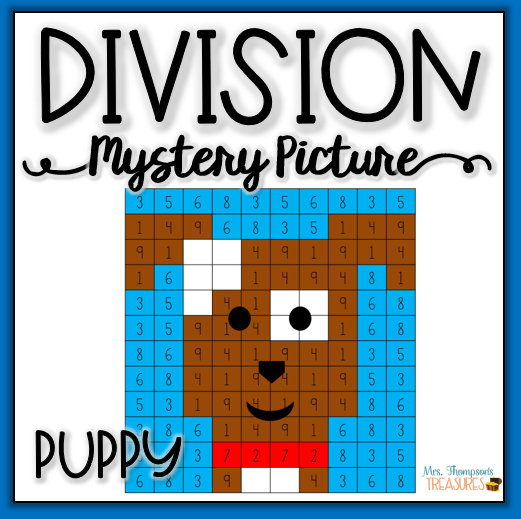 Fun division practice mystery picture puppy