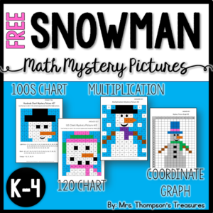 Free snowman winter math mystery pictures.