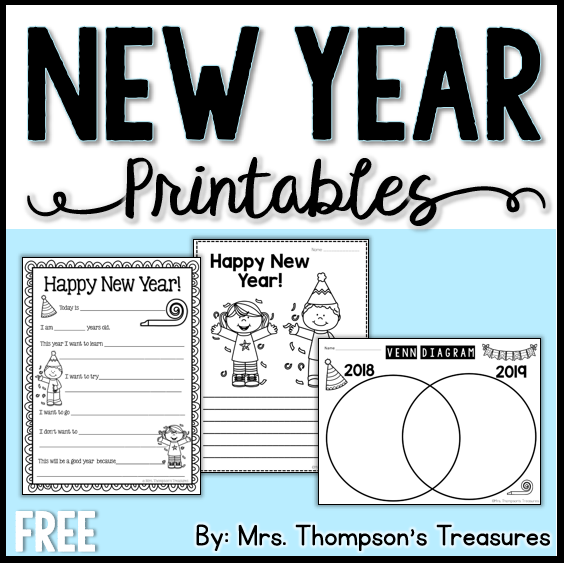 graphic about Happy New Year Printable known as Contemporary Yr Printables - Mrs. Thompsons Treasures