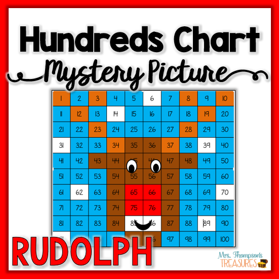 Free Rudolph mystery picture hundreds chart Christmas math activity