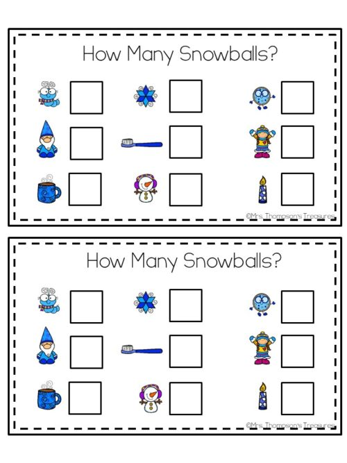 Snowball non standard unit measurement kindergarten math center