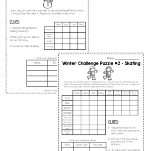Winter logic puzzles critical thinking activities