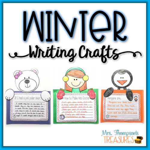 Winter writing crafts prompts and characters and writing pages