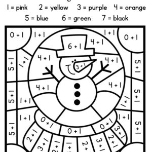 Winter color by code activity pages to practice math and sight words