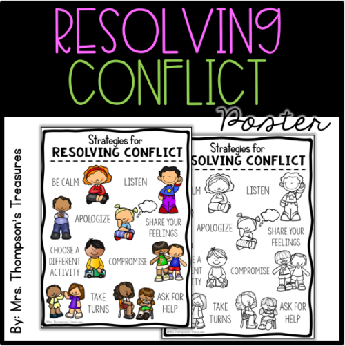 Strategies for Resolving Conflict poster - conflict resolution for elementary students