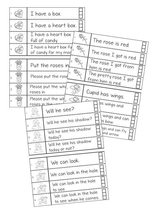 Guided reading for February - fluency sentences