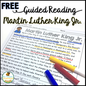 Free guided reading Martin Luther King Jr. reading comprehension and questions