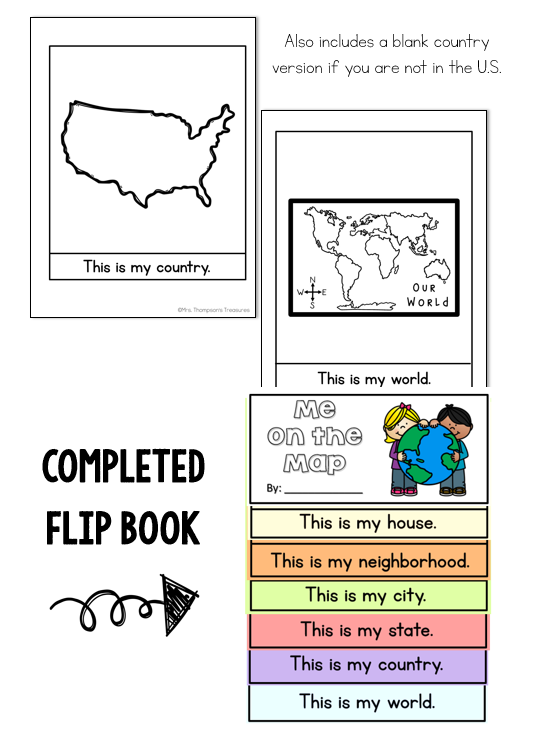 Me on the map flip book geography activity
