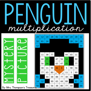 Penguin multiplication mystery picture - great winter math activity.