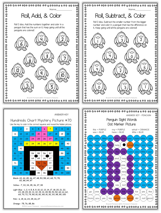 Penguin themed math and literacy worksheets for early elementary.