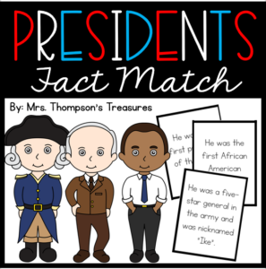 Presidents matching game - facts about presidents