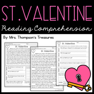 St. Valentine reading comprehension passage and questions. Valentine's Day activity